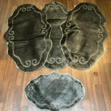 ROMANY WASHABLE MATS 4PC SET NON SLIP BEAUTIFUL DESIGN GREY MATS NEW RUGSS X